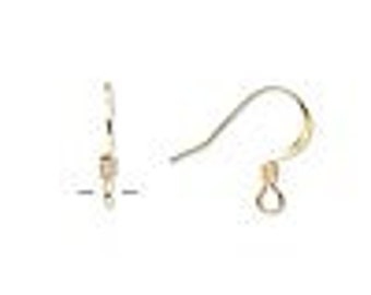 Earwire, gold-plated surgical steel,15mm flat fishhook with 3x2mm coil, 21 gauge . 10 per pack (5 pair)