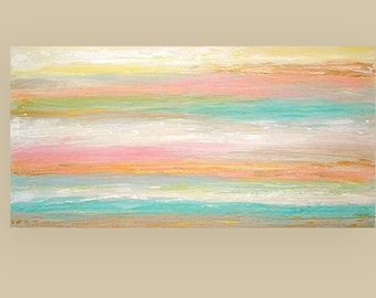 "ART Painting,Acrylic Painting,Abstract Painitng,Art,Acrylic Abstract Original on Canvas Titled: Sweet Breeze 24x48x1.5"" by Ora Birenbaum"