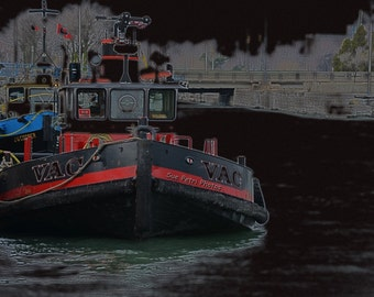 Nautical Photography, Surreal Nautical Art, Wall Art, Black and Red Wall Decor, Tugboat, Welland Canal Photos, Port Colborne Photos