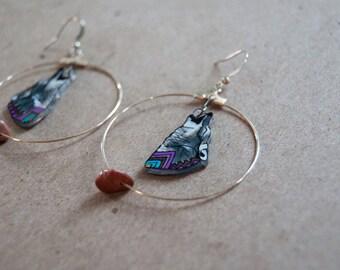 SALE Wolf Earrings  / Chevron Earrings / Hoop Earrings / Lavender and Gray / Woodland / ZigZag / Plastic Jewelry / Wearable Art