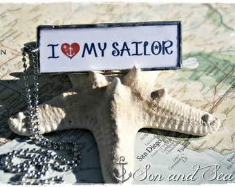 I Love My Sailor US Navy pride reversible soldered glass pendant necklace by Son and Sea FREE US shipping