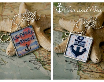 reversible US Navy girlfriend  soldered glass pendant necklace by Son and Sea FREE US shipping