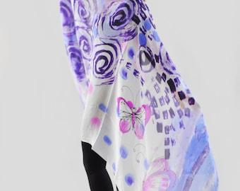 Hand painted silk Shawl/Blue butterflies/Silk shawl/Summer accessory/Luxury blue shawl/Painted by hand silk shawl/Woman shawl/made /H0201