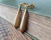 Art Deco Clip On Earrings, Raw Brass Drop Clip Earrings, Screw Back Earrings