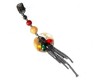 Dreadlock Jewelry - Hematite and Shell Loc Jewel