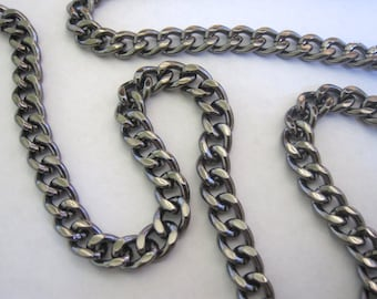 Gunmetal Curb Chain Gunmetal Plated Fashion Chain Heavy Gauge Gunmetal Chain Gunmetal Curb Chain 9mm by 7mm 1 Foot Length by BySupply