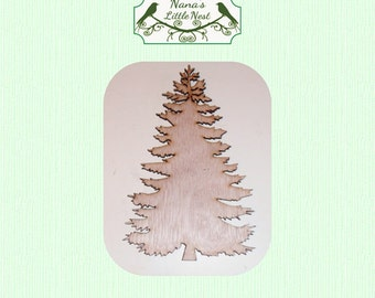 Evergreen Tree - (Small) Wood Cut Out -  Laser Cut