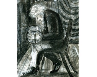 Charcoal and Pastel Drawing of a Bandoneon Player at the Argentine Tango Milonga