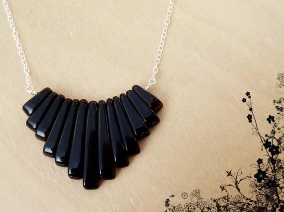 Black Stone & Silver Fringe Necklace