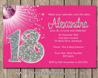 Personalised  Bling Birthday Invitations 18th 21st 30th 40th - You Print