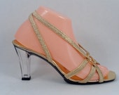 1980s New Clear Acrylic High Heels Gold Strappy Dezario Size 8 Glass Slippers Open Toes Comfortable Made in USA