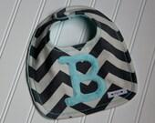 Chevron Bib Monogrammed, Personalized Bib, Chevron Stripe Bib, Minky Bib, Custom Bib, Monogrammed Bib