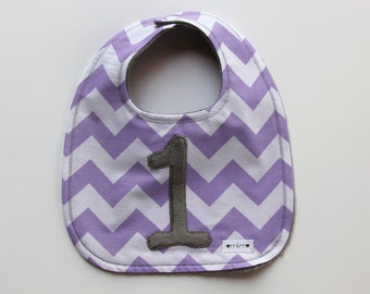 Chevron Birthday Bib First Birthday Bib, Chevron Stripe Bib, Minky Bib, Custom Bib