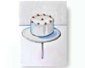 Original Fine Art Figurative Drawing - small size-oil pastel and  pencil color on acid free paper/ cake, desert,