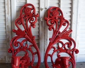 Vintage Wall Red Ornate Candle Holders / Hollywood Regency Candle Sconces / Ornate Sconces