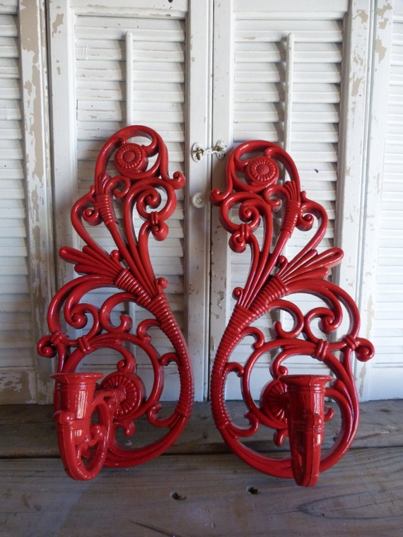 Vintage Wall Red Ornate Candle Holders / Hollywood Regency Candle Sconces / Ornate Sconces