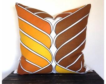 """Funky Cushion Cover 60/70s Vintage Retro Fabric 22"""" x 22"""" Orange, Brown & White Throw Pillow"""