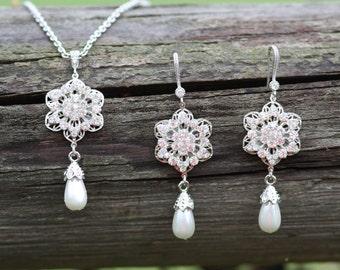 Bridesmaids -Bridal Earrings, Bridal Necklace, Lotus Flower, Romantic Swarovski crystal bridal necklace, Bridal earrings and necklace set.