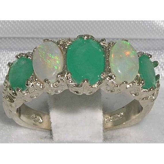 14K White Gold Natural Emerald & Colorful Opal Engagement Ring