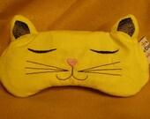 Embroidered Sleep Mask, Slumber Party Sleep Mask, Blindfold, Eye Shade, Kitty Sleep Mask, Eye Mask, Slumber Mask, Cat Design, Unisex,