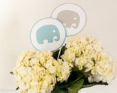 Baby Shower Centerpiece Sticks, Elephant Baby Shower Decoration, Boy Baby Shower, Blue Gray Baby Shower