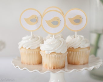 Baby Shower Decoration Bird Cupcake Toppers Yellow Grey Gender Neutral