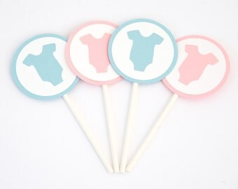 Set of 12 - Gender Reveal Cupcake Toppers - Twins Cupcake Toppers