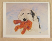 Old English Sheepdog Beary Happy Birthday Card with Envelope