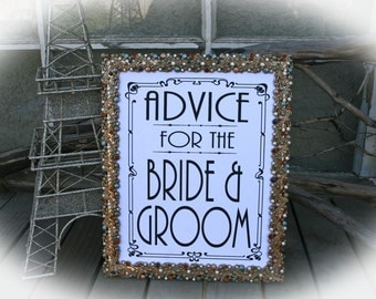 NOT a printable - Advice for the Bride and Groom -Art Deco Style -8 x 10 Wedding Sign-