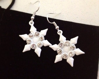 White Snowflake Dangle Earrings. Crystal Rhinestones. Enamel. Silver Hooks. Ice. Frosty. Winter. Under 15. Gifts for Her. Snowflakes.