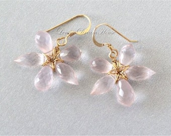 Gemstone Flower Earrings, Rose Quartz Faceted Chandelier and Dew Drop Briolettes, Gold-filled Wire and Earwires. Gift for Her. E224.