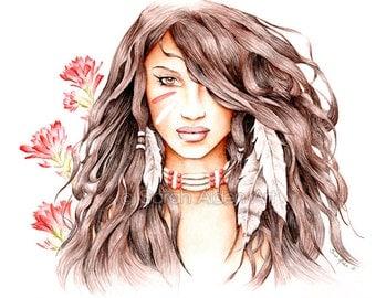 Native American Art Print - Indian Paintbrush Flower - Feather Painting - Fantasy Female Portrait - Sarah Alden