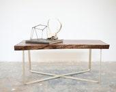Walnut coffee Table W/Brass X Base- Ready to Ship