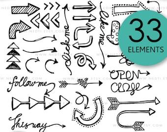 BEST SELLER Arrow Doodle Clip Art No.1, Arrows Clipart, Digital Images, PNG, 300dpi, Instant Download, Invitation, Tattoo, Hand Drawn, Nedti