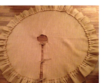 Burlap tree skirt with ruffle