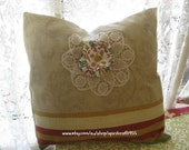 Pillow/Cushion Cover - 17 x 17 inch or 43x43cm in upholstery cotton.  Front has a fabric flower and doily. back is soft Indian cotton.