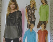 Butterick  Misses Womens Pullover Top Shirt Cowl Neck Sewing Pattern B5816 UC Uncut FF Size 16 18 20 22 Plus