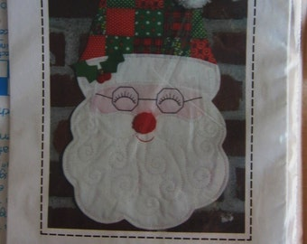 Vintage Patch Press Quilted Santa Claus Wall Hanging Pattern Uncut Christmas Quilt Quilting Decoration