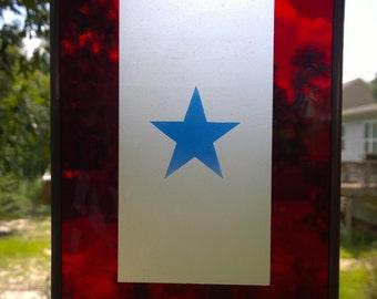 BLUE STAR stained glass suncatcher ornament