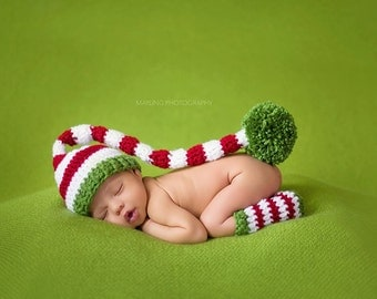 READY TO SHIP --- Newborn Baby Stocking Hat - Photo Props, Photography Props, Boys, Christmas, Girls,  Elf Hat, Striped Hat