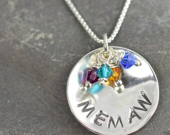 MEMAW Necklace with Swarovski Mothers Day,  Argentium Sterling, Memaw, Me Maw, Southern Grandma, Grand babies, Grandma,