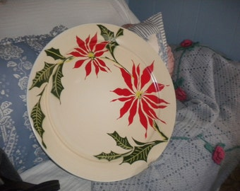 Extra Large Poinsettia Tin Round Tray, Eclectic Decor. Primitive Decor, Country Decor. Cottage Chic,Holiday Large Platter/Tray