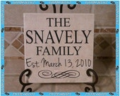 Family Name and Established Date with Scroll Design  - Vinyl Wall Decalz