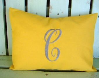 Monogram 12x16 lumbar yellow pillow cover-nursery pillow-college gift-accent pillow- decorative pillow cover-gifts under 40-throw pillow