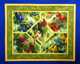 Panel birds - cardinal - red - green - tree - window - easy - fast - quilt - sewing - fabric - BTP