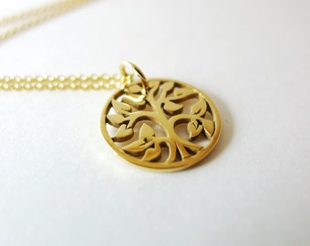 Round Tree-of-Life Charm Necklace / Natural Bronze / 14k Goldfilled Chain