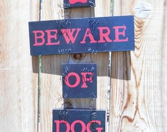 Beware of Dog Sign, Pet Decor, Beware of Dog Poop, Wood Dog Sign, Pet Sign, Painted Dog Sign, Dog, Yard Art, Handmade, Black and Red