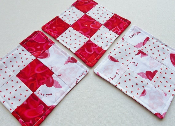 Fabric Coasters Mug Rugs Valentines Day Drink By