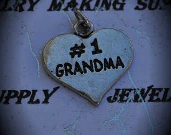1 Grandma Sterling Silver Plated Charm