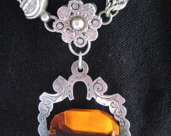 Stunning Silver Albertina Necklace with Amber Colored Fob